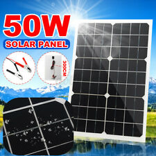 50W 18V Monocrystalline Solar Panel Kit battery Charger Camping For Car RV