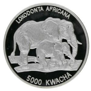 1999 Zambia - 1oz.  Proof .999 Silver 5000 Kwacha Coin 'Loxodonta Africana' RARE