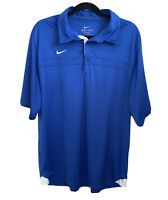 NIKE DRI-FIT Men's Polo Shirt Golf Short Sleeve Blue White Collared Top Size XL