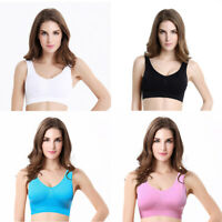 Women Fitness Yoga Stretch Tank Top Seamless Racerback Padded Active Sports Bra