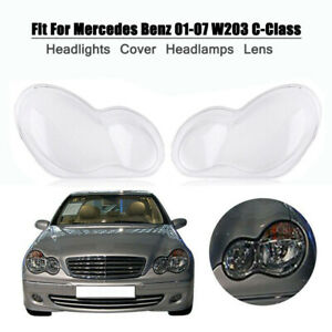 Headlight Lens Plastic Shell Cover LH+RH For Mercedes Benz W203 C-Class 01-07 US