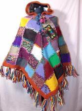 GRINGO FAIR Trade Pura Lana Multicolore Hippy Boho Pixie Cappuccio Poncho Nepal
