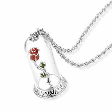 Disney Official Beauty & the Beast White Gold-Plated Enchanted Rose Necklace