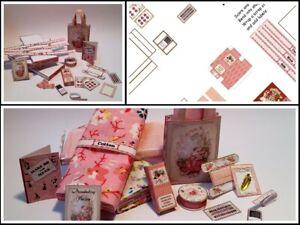Dolls house printed KIT - Haberdashery/sewing shop pink items Miniature