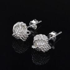 925 Sterling Silver Plated 4 Rope Circle Loop 3 Twist Knot Stud Earrings Gift
