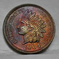 1904 Indian Head Penny Cent- Incredible Rainbow Toning