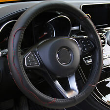 "Universal Black+Red PU Leather Car Steering Wheel Cover 38CM 15""/37 Accessories"