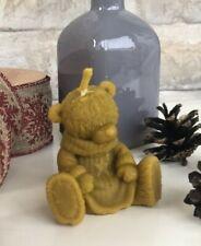 Handmade 100% Pure Beeswax Teddy-Bear Shape Candles 100% Cotton Wick