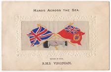 "R.M.S. Virginian Silk Postcard  ""Hands Across The Sea "" Titanic Interest"