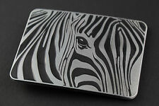 RECTANGLE ZEBRA METAL BELT BUCKLE ANIMAL GREY BLACK