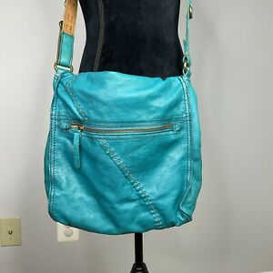 Lucky Brand  Abbey Road  Messenger Bag Turquoise Leather