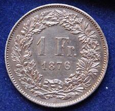 RAR 1 Franken 1876 B Erhaltung! Schweiz Silbermünze Helvetia Switzerland Suisse