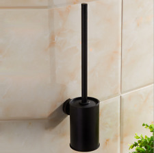 New Wall Mount Black Stainless Steel Toilet Brush+ Holder Bathroom Cleaner Kit
