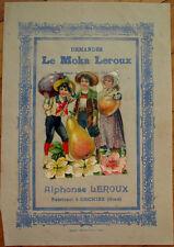 Victorian Diecut Scrap 1890s on Large 10x7 Chicoree Advertising - People & Fruit