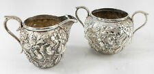 Antique S. Kirk and Sons Sterling Silver Floral Repousse Demitasse Sugar Creamer