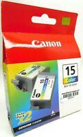 Genuine Lot of 2 Canon 15 Color Ink Cartridge Twin Pack BCI-15