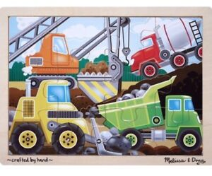 Melissa and & Doug Kids Tray Puzzle CONSTRUCTION Vehicles 12pc 3+yr 30x22cm BN