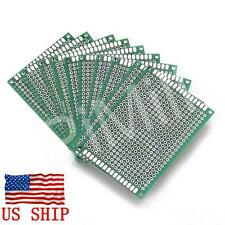 10pcs Double Side Prototype PCB Tinned Universal Bread board DIY 5x7cm US Stock