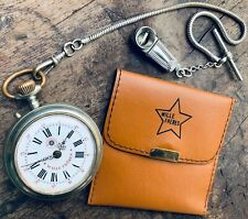 ROSKOPF POCKET WATCH WILLE FRERES + catena chain + silver cigarette cutter