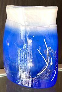 Studioglas Glas Vase blau mit Goldflitter Murano ? signiert RAR Zustand: TOP