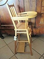 Ancienne petite chaise haute en bois-style nordique en hêtre-jouet vintage 1960