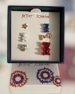 New Betsey Johnson 6 Piece Red, White And Blue Gummy Bear Stud Earring Set