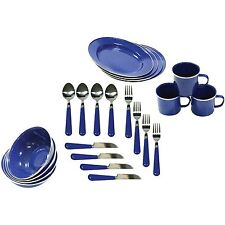 Camping Enamel Tableware 24 Piece Set Outdoor Stainless Steel Plates Mug Picnic