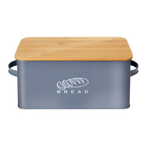 Bamboo Bread Box Metal Bread Bin Kitchen Food Storage Containers Cake Keeper