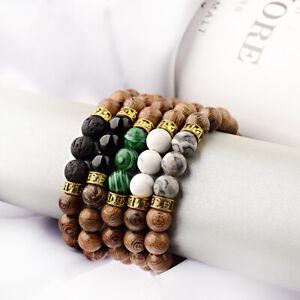 10mm Natural Stone Sanskrit Meditation Mantra Balance Yoga Wooden Beads Bracelet
