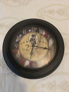 "2nd Ammendment Clock Red Wht Blue 10"" Round"