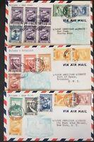 Pan Am 1941 Portuguese Guinea Bolama Flights Set of three:Trinidad, San Juan, NY