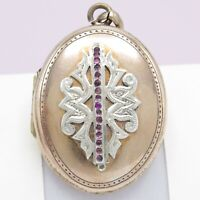Antique Victorian French Rose Gold Filled GF Silver Paste Pendant Locket