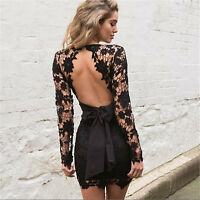 Black Crochet Lace Satin Bow Backless Mini Dress Boutique Size S-XL Celeb Style