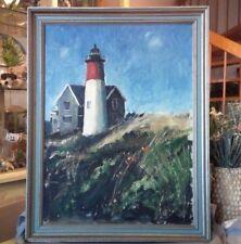 Vintage Mid-Century Lighthouse Seascape Oil Painting Framed