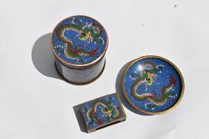 RARE SET OF CHINESE CLOISONNE CIGARETTE BOX, ASHTRAY, MATCH HOLDER DRAGON DESIGN