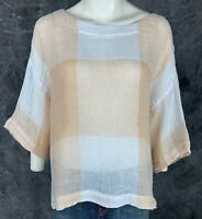 Pure J Jill Wide Weave Oversized Colorblock Dropped Shoulder Shirt Top L (9451)