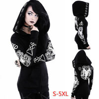 Gothic Punk Women Black Hooded Jacket Long Sleeve Coat Hoodie Cosplay Costume
