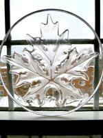 Vintage Lalique France Crystal Clear Frosted Maple Leaf Shallow Bowl Plate 9.5""