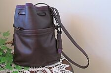 New Kerry Washington Dee Ocleppo Purple Purse leathr cross-body bucket fringed