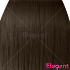 """18"""" Clip in Hair Extensions STRAIGHT Light Chocolate Brown #12/18 FULL HEAD 8pc"""