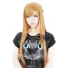 80cm Sword Art Online Asuna Yuuki Women Blonde Anime Cosplay Wig + Free Cap
