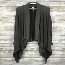 Splendid Womens Sweater Cardigan Sz S L/S Brown Open Front Asymetrical Hem