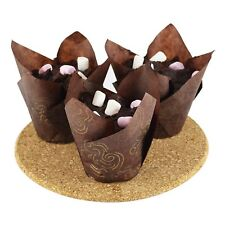 200 X Tulip Muffin Cases Cupcake Wraps Chocolate Brown Wrappers Baking Paper