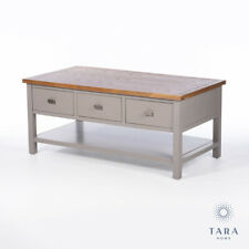 COUNTRY FRENCH GREY OAK STORAGE COFFEE TABLE WITH DRAWERS (GB702)