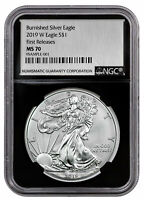2019 W Burnished Silver Eagle NGC MS70 FR Black Silver Foil Label SKU55863
