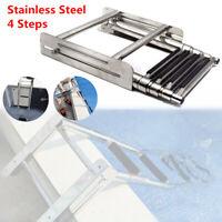 Stainless Steel 4 Steps Under Platform Boat RV Yacht Boarding Telescoping Ladder