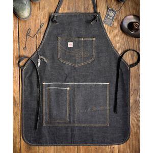 Men Women's Denim Apron Vintage Tooling Apron Multi-pockets Working Cotton Apron