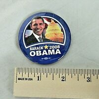 "OBAMA 2008   BUTTON PIN BACK, 2  25"" ROUND PICTURE OF OBAMA W/CAPITOL"