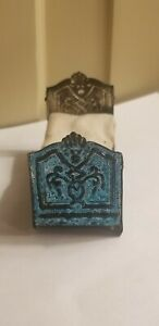 ANTIQUE DOLLHOUSE MINIATURE PAINTED TIN BED WITH BEDDING BLUE