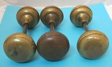 "1 Pair Vintage Brass Door Knobs Full set 2 1/4"" Nice Shape"
